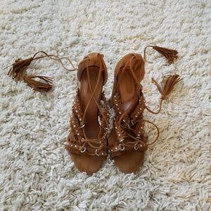 Cognac boho lace up heels 7